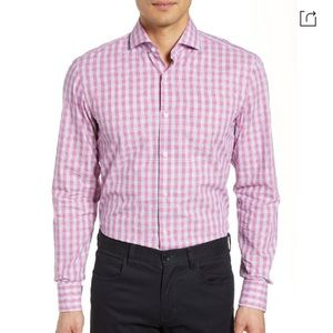 Hugo Boss sharp fit red check button down